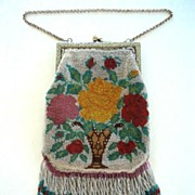 SOLD Pretty Beaded 1920's Vintage Purse with Fringe Vase & Flowers Design