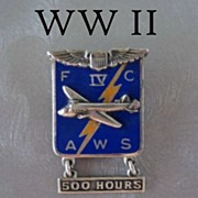 SOLD Vintage Sterling & Enamel WWII Army Air Force 500 Hours Brooch Pin Marked