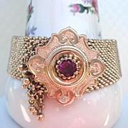 SOLD Antique Victorian Gold Filled 1860'S Mesh Garnet Centered Slide Bracelet