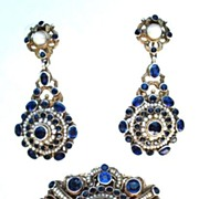 SOLD Circa 1890's Antique Austro-Hungarian Victorian 14kt Vermeil Set Synthetic Sapphire Sto