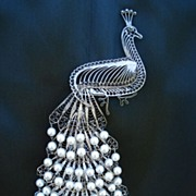 """SOLD Rare Antique Victorian 7"""" LONG Elaborate Peacock Brooch Pin Silver Pearls Cascading Det"""