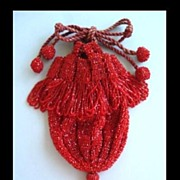 SOLD Fabulous 1920's Red Glass Beaded Reticule Flapper Drawstring Purse with Pom Poms & Frin