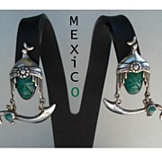 SOLD Rare Vintage 1920's Mexican Screw Back Dangle Earrings Mask Hat Moon Snake Sword Marked