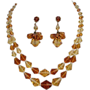 Vintage German Premium Topaz Citrine Crystal Set Necklace & Dangle Earrings