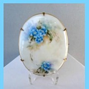SOLD Antique Early 1900's Hand Painted Porcelain Brooch Pin Forget-me-Knots C-Clasp Gilded Bra