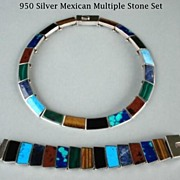 SOLD Exceptional Vintage Mexican High End Set 950 Silver Collar Choker Bracelet Multiple Stone