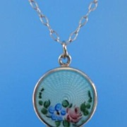 SOLD Vintage Sterling Silver Guilloche Enamel Pendant Locket Complimentary Sterling Chain