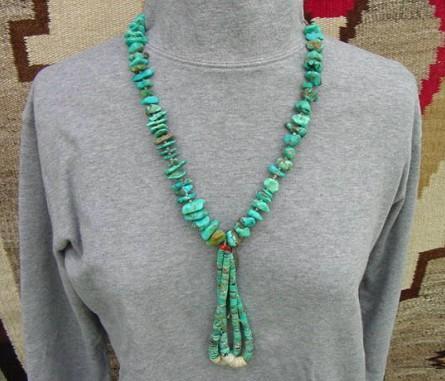 Early Vintage Native American Pueblo Turquoise Nugget & Heishi Bead JOCLA Necklace
