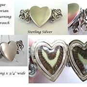 SOLD Antique Victorian Mourning HAIR Brooch Sterling Silver Double Sided Heart Shaped Locket