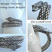 SOLD Antique Victorian Sterling Silver Spiral Coiled Snake Bracelet Emerald Green Eyes Marked