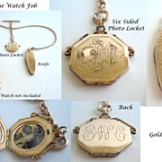 SOLD Antique Victorian Gold Filled Watch Sliding Fob with Photo Locket & Knife Highly Ornate