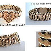 SOLD Signed Carl Art Yellow Gold Filled WWII Military Sweet Heart Expansion Bracelet