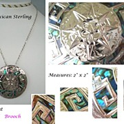 Vintage 1950's Mexican Pendant Brooch Sterling Silver VIBRANT Abalone Inlay Aztec Face Desig