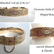 SOLD Vintage Victorian F.M. Co. 12K Gold Filled Bangle Taille d'Epargne Bracelet Safety Chain