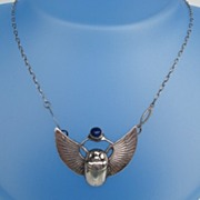 SOLD Late 1800's Egyptian Revival Scarab Beetle Necklace Sterling Pushing Lapis Food Ball Ma
