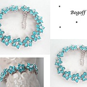SOLD Vintage Signed Bogoff Aqua & Clear Rhinestone Floral Bracelet Rhodium Excellent