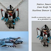 Large Vintage Native American Colorful Zuni Knife Wing Dancer Inlaid Stones Brooch Sterling Silver