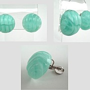 Vintage Marbled Aqua & White Lucite Shell Style Earrings