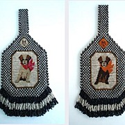 SOLD Rare 1920's Vintage Terrier Dog Purse Carnival Glass Beads Design on Both Sides