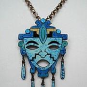 SOLD Vintage 1950's Mexican Mask Brooch Pendant Sterling Dangles Vibrant Blue Enamel Signed