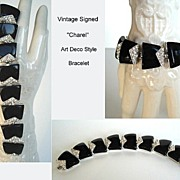 SOLD Vintage Signed CHAREL Art Deco Style Bracelet Black Lucite Clear Rhinestones Rhodium Sign