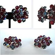 Vintage Earrings Black Diamond Rhinestones and Red Aurora Austrian Crystals