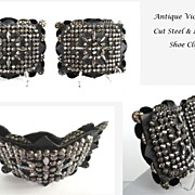 SOLD Extraordinary FRENCH Antique Mid-Victorian Shoe Clips Intricate Cut Steel Design Fancy La
