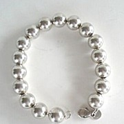 SOLD Vintage Chunky Tiffany & Co. Sterling Silver Bracelet Round Beads Signed Marked