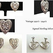 Exquisite Vintage Signed Uncas Sterling Silver Lucky Earrings Repousse Horseshoe & 4-Leaf-Clover in Heart