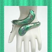 SOLD Rare Vintage Siam Ethnic SNAKE Clamper Bracelet Sage Green Enamel Niello Sterling Silver