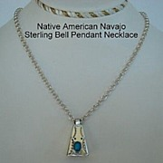 Vintage Native American Articulated Bell Pendant Necklace Turquoise Sterling Silver Hand Stamping Navajo