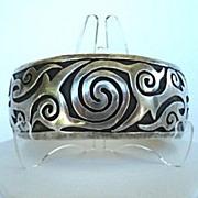 SOLD Premier Large Vintage Mexican Bracelet Sterling Silver with Mythical Overlays Signed