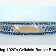 SOLD UNUSUAL 1920's Flapper Art Deco Ivory Celluloid Bangle Bracelet 6-Rows Sapphire & Clear