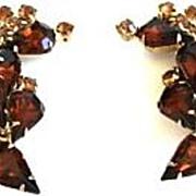 Large Vintage Smoked & Honey Topaz Rhinestone Climber Earrings Gold Tone