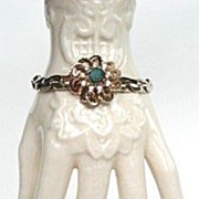Vintage Bracelet Lush Blooming Flower with Emerald Green Rhinestone Chunky Gold Plated Snake C