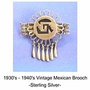 Unusual Vintage MEXICAN Brooch Pin Sterling Silver Pre Colombian Design Arrows & Dangles Hallm