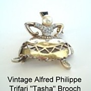 Vintage Alfred Philippe Trifari Sterling Vermeil Tasha Brooch Female Russian Cossack Dancer