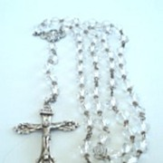 SOLD Vintage Hallmarked HMH Sterling Silver & Cut Glass Crystal Bead Rosary Ornate Engraving &
