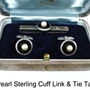 SOLD Vintage Fuji Pearl Co. Cultured Pearl Sterling Set Tie Clip & Cuff Links Original Box!