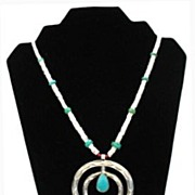 Vintage 1950's Native American Necklace Signed Bell Sterling Naja Turquoise Coral Heishi Beads