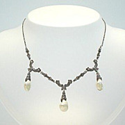 SOLD Circa 1890's Antique French Set 890 Silver Pearls Marcasites Marked