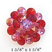 Vintage Red & Pink Rivoli Marguerite Glass Flower Brooch Pin
