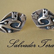 SOLD Rare Vintage 1950's SALVADOR TERAN Dancer Cuff Links Mexican Taxco Sterling Silver