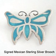 Wonderful Vintage Mexican Sterling Silver Butterfly Brooch Turquoise Color Enamel Inlay on Nec