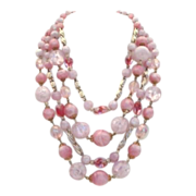 Stunning Vintage West Germany Necklace PINK Molded Plastic Quadruple 4- Strand AB Faux Crystal
