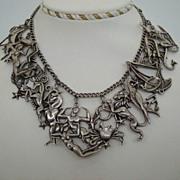 SOLD Magnificent RARE MARGOT DE TAXCO Sterling Silver Zodiac 12 – Figural Cut-Out Pendants N