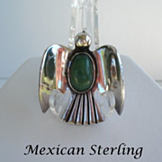 Vintage 1930's Mexican Sterling Silver Bird Brooch Faux Jade Glass Stone Signed