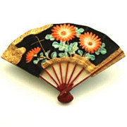 SOLD Rare Authentic Signed Japanese Porcelain Fan Brooch Overlaid Glass Flowers Gilded Gold