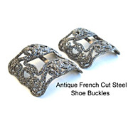SOLD Antique FRENCH Mid-Victorian 1800's Cut Steel Shoe Buckles Clips Intricate Exquisite Desi