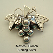 SOLD Vintage Hallmarked Mexican Sterling Silver Dangling Grapes & Leaf Brooch Pin Superb Const